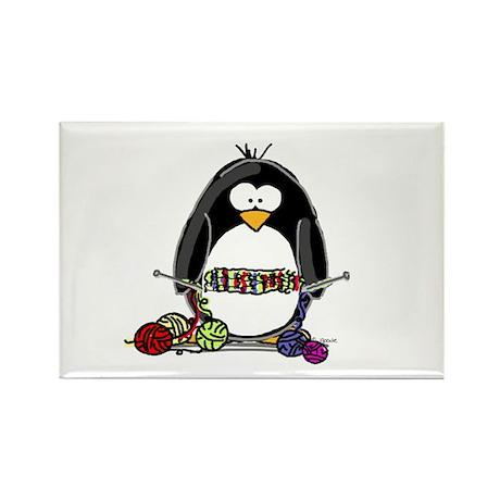 Knitting Penguin Rectangle Magnet (100 pack)