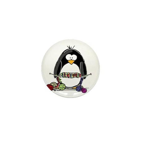 Knitting Penguin Mini Button (100 pack)