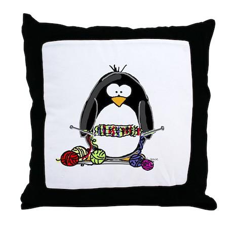 Knitting Penguin Throw Pillow