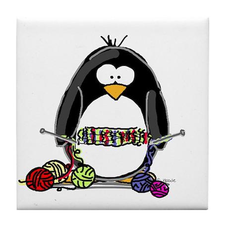 Knitting Penguin Tile Coaster