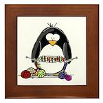 Knitting Penguin Framed Tile