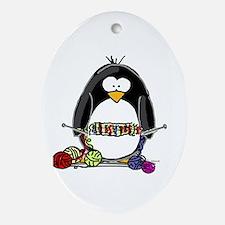 Knitting Penguin Oval Ornament