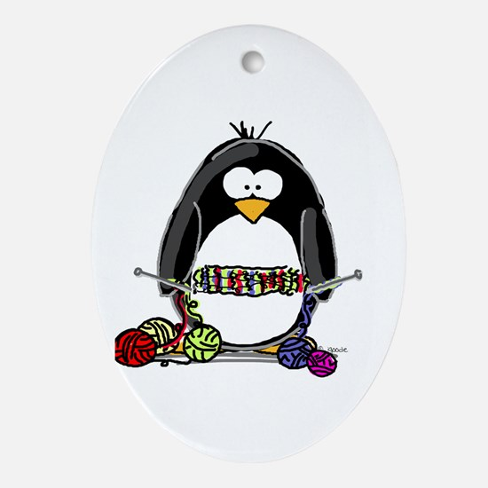 Knitting Penguin Oval Ornament