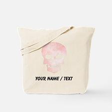 Custom Skull Pink Watercolor Tote Bag