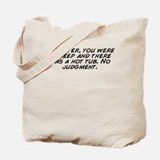Funny Sharks in a hot tub Tote Bag