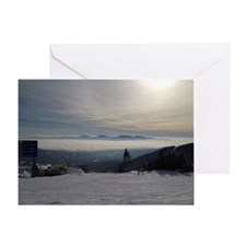 Skiing Above the Clouds Greeting Card