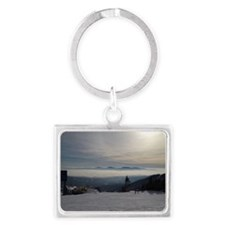 Skiing Above the Clouds Landscape Keychain