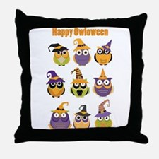 Happy Owloween Throw Pillow