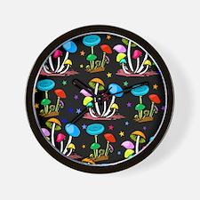 Rainbow Of Shrooms Wall Clock