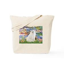 Monet's Lilies & White Persia Tote Bag