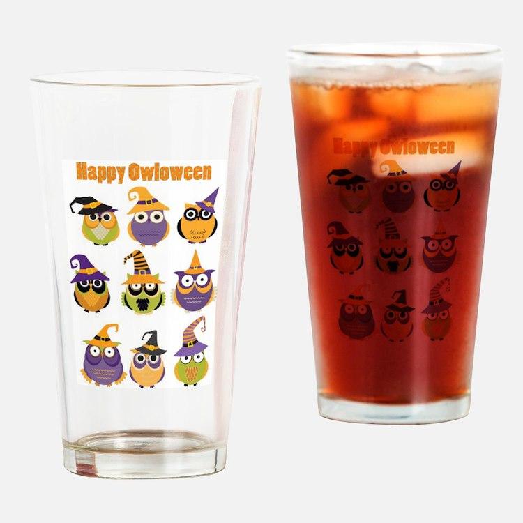 Happy Owloween Drinking Glass