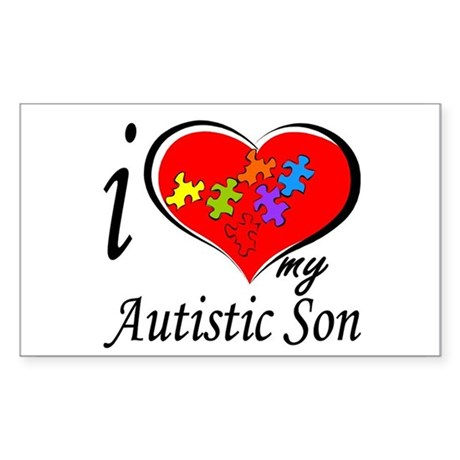 I love my Autistic Son Rectangle Sticker