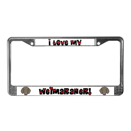 Love Weimaraner License Plate Frame