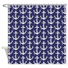 Nautical Anchors Aweigh Navy Curtai Shower Curtain