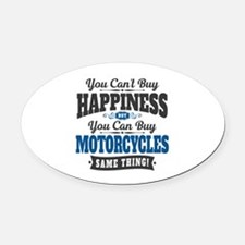 Biker Happiness Oval Car Magnet