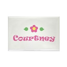 "Pink Daisy - ""Courtney"" Rectangle Magnet"