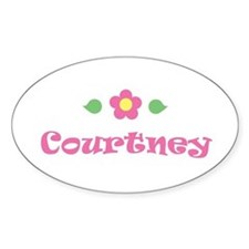 """Pink Daisy - """"Courtney"""" Oval Decal"""
