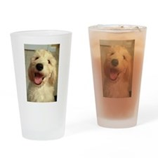 Happy Goldendoodle Drinking Glass