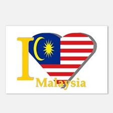 I love Malaysia flag Postcards (Package of 8)