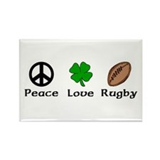 Peace Love Rugby Irish Rectangle Magnet (10 pack)