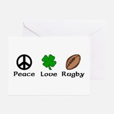 Peace Love Rugby Irish Greeting Cards (Package of