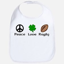 Peace Love Rugby Irish Bib