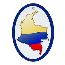 """Colombia Bubble Map"" Oval Ornament"