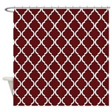Burgundy Moroccan Lattice Shower Curtain