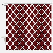 Burgundy Moroccan Lattice Shower Curtain