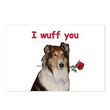 Collie Valentine Postcards (Package of 8)