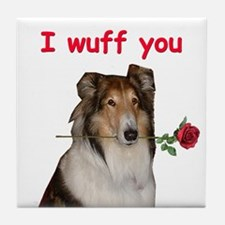 Collie Valentine Tile Coaster