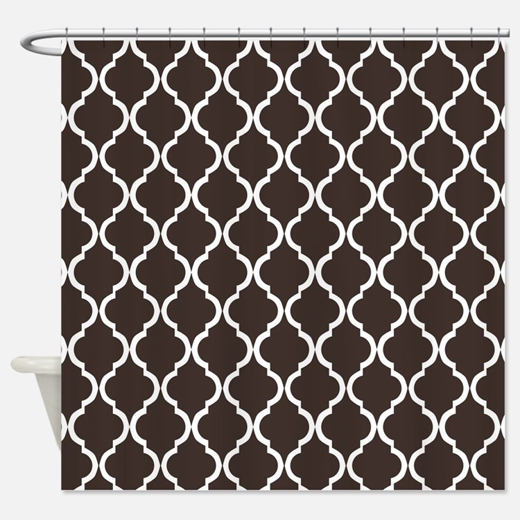Dark Brown Moroccan Lattice Shower Curtain
