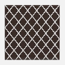 Dark Brown Moroccan Lattice Tile Coaster