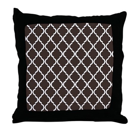 Dark Brown Throw Pillow : Dark Brown Moroccan Lattice Throw Pillow by CierrasPatternDecorandGifts