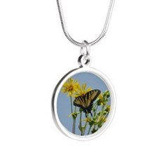 Eastern Tiger Swallowtail Bu Silver Round Necklace