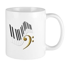 Keyboard & Treble Clef Gold Mug