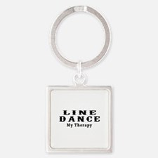 Line Dance My Therapy Square Keychain