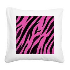 Black/Pink Zebra Print Square Canvas Pillow
