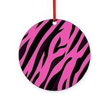 Black/Pink Zebra Print Round Ornament