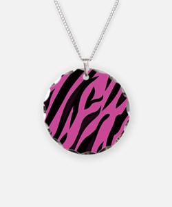 Black/Pink Zebra Print Necklace