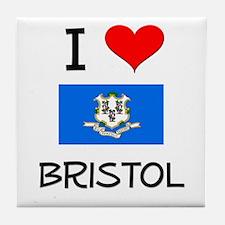 I Love Bristol Connecticut Tile Coaster