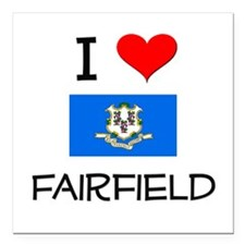 I Love Fairfield Connecticut Square Car Magnet 3""