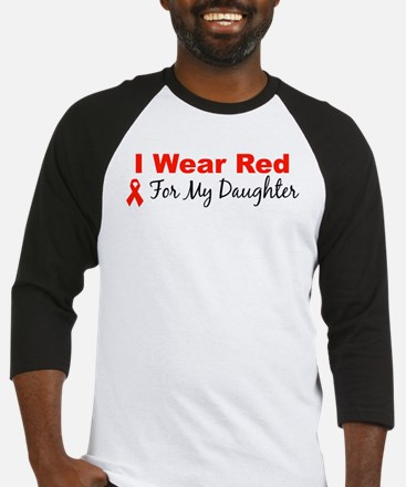 I Wear Red For My Daughter Baseball Jersey