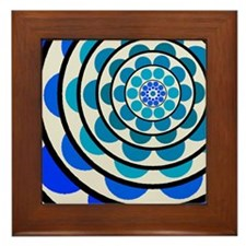 Circles and Dots Blue Framed Tile