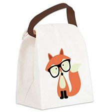Hipster Red Fox Canvas Lunch Bag