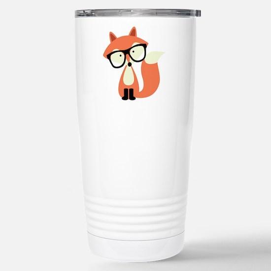 Hipster Red Fox Stainless Steel Travel Mug