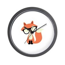 Hipster Red Fox Wall Clock