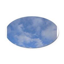 Blue Sky Puffy Clouds Oval Car Magnet