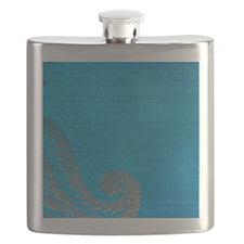 Blue paisly silk Flask