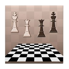 Chess Game Brown Tile Coaster